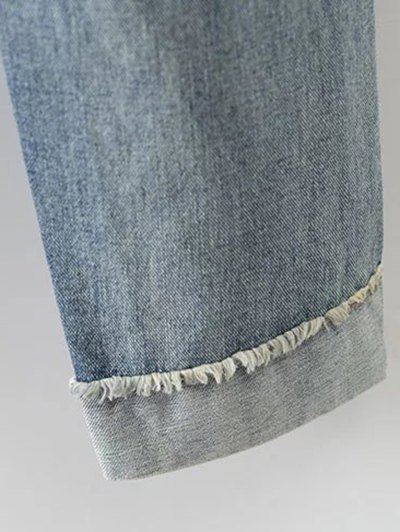 Red Lips Ripped Jeans - LIGHT BLUE 29 Mobile
