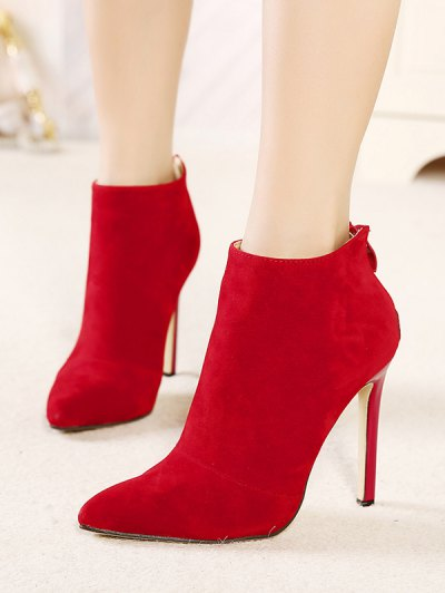 Pointed Tie Flock Zipper Ankle Boots - RED 40 Mobile