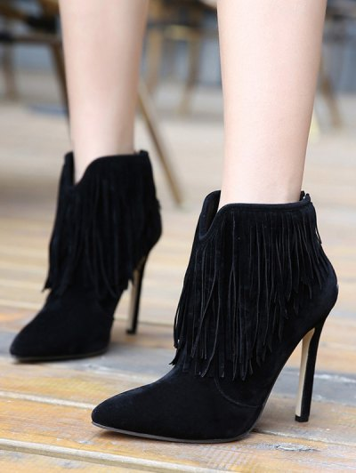 Fringe V-Shape Zipper Ankle Boots - BLACK 37 Mobile