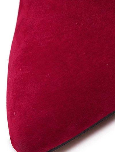 Fringe V-Shape Zipper Ankle Boots - DEEP RED 39 Mobile