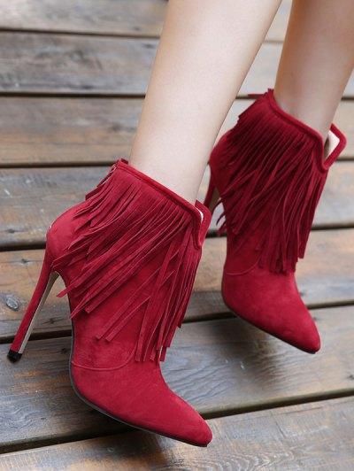 Fringe V-Shape Zipper Ankle Boots - DEEP RED 40 Mobile