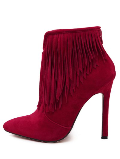 Fringe V-Shape Zipper Ankle Boots - DEEP RED 37 Mobile