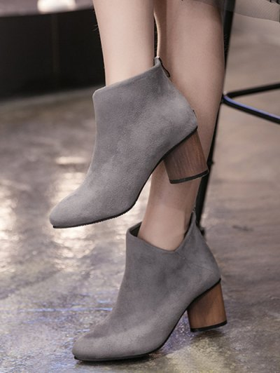 V-Shape Pointed Toe Zipper Ankle Boots - GRAY 38 Mobile