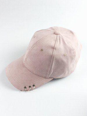 Circle Hoop Faux Suede Baseball Hat - Shallow Pink
