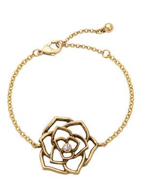 Vintage Rhinestone Floral Openwork Bracelet - Golden