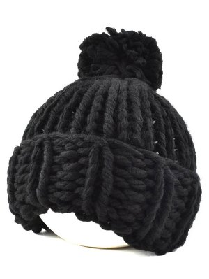 Big Ball Flanging Coarser Knit Hat - Black