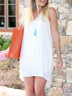 Sleeveless V Neck Casual Dress - White