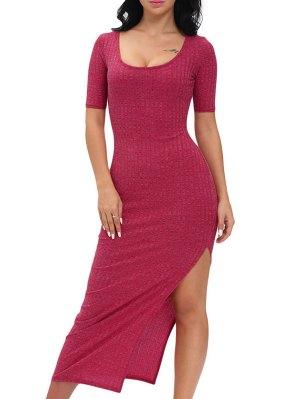 Scoop Neck Slit Bodycon Maxi Dress - Wine Red