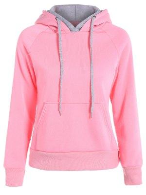 Double Hooded Drawstring Hoodie - Pink