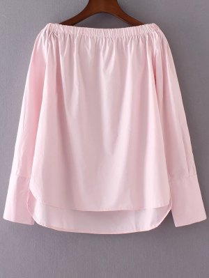 Off The Shoulder High Low Blouse - Pink