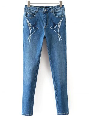 Skinny Embroidered Jeans - Denim Blue