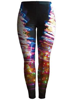 Printed Colorful Leggings - Black