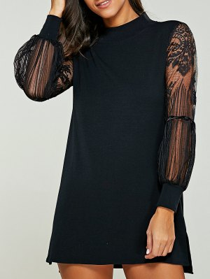 Lace Panel Mock Neck Sweater Dress - Black