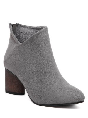 V-Shape Pointed Toe Zipper Ankle Boots - Gray