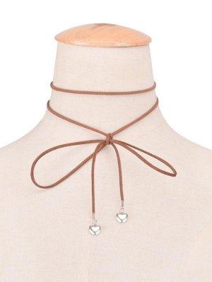 Faux Leather Velvet Bowknot Heart Choker Necklace - Brown