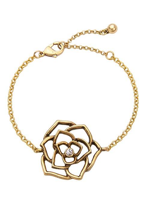 Vintage Rhinestone Floral Openwork BraceletAccessories<br><br><br>Color: GOLDEN