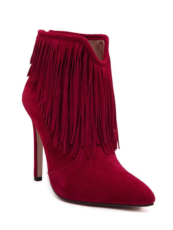 Fringe V-Shape Ankle Boots