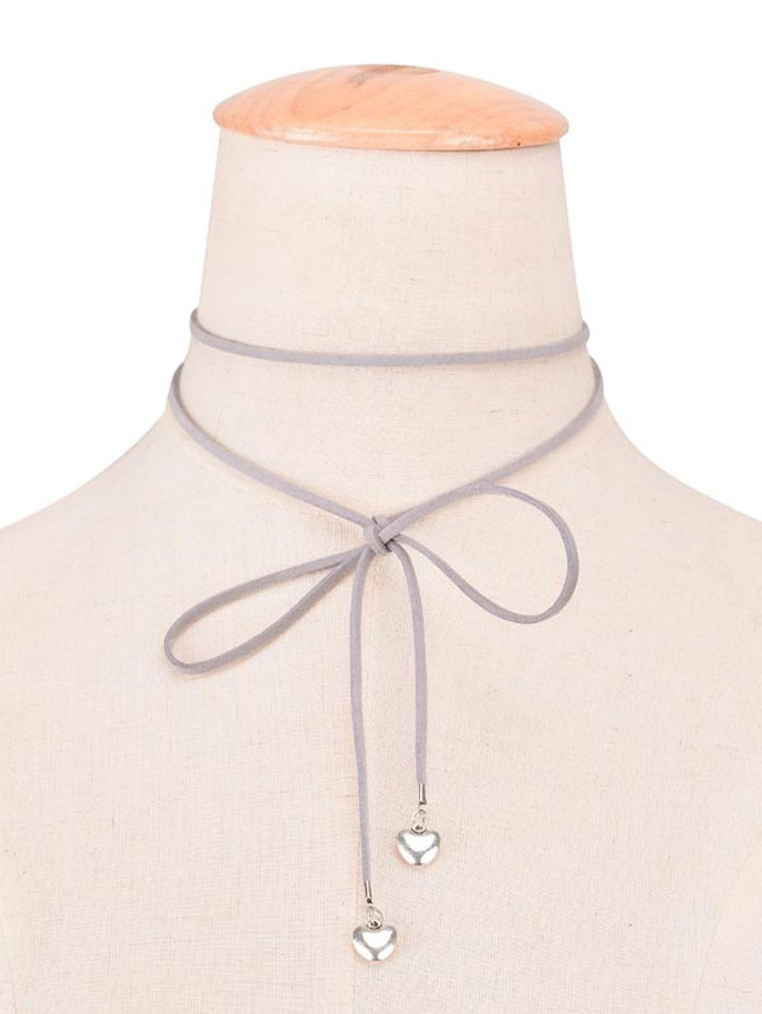 Faux Leather Velvet Heart Bowknot Choker Necklace