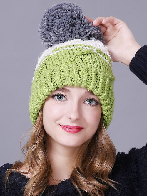 Big Ball Stripy Braid Knitted BeanieAccessories<br><br><br>Color: LIGHT GREEN