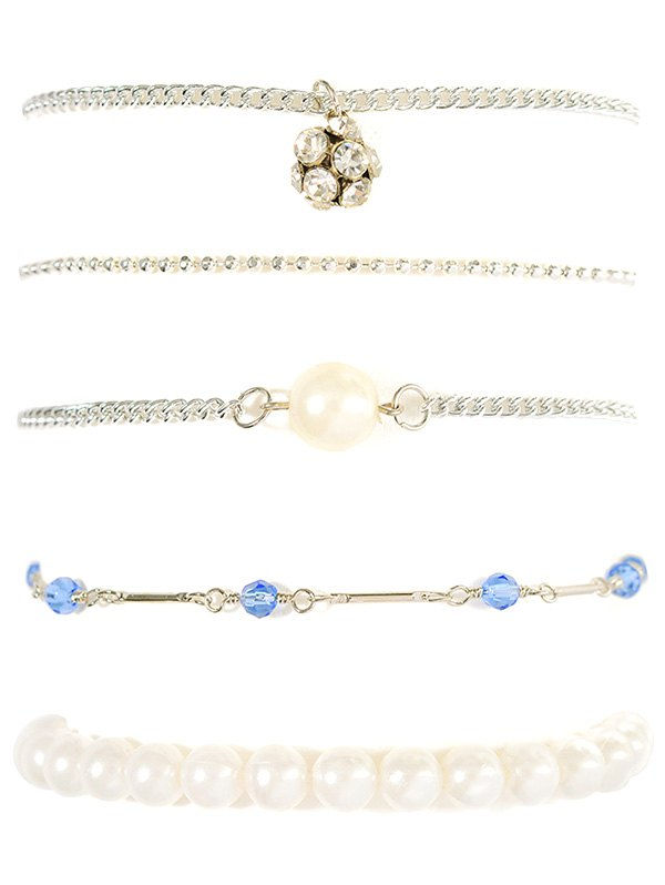 Faux Pearl Rhinestone Beaded Bracelet Set