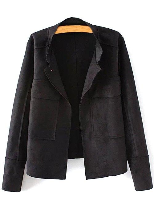 Plus Size Suede JacketClothes<br><br><br>Size: 3XL<br>Color: BLACK