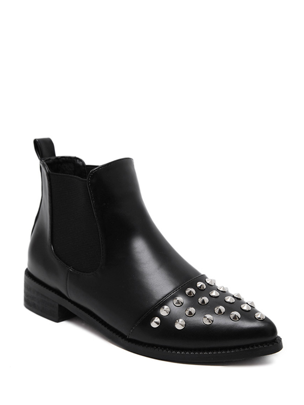 Rivets Elastic Band Ankle Boots