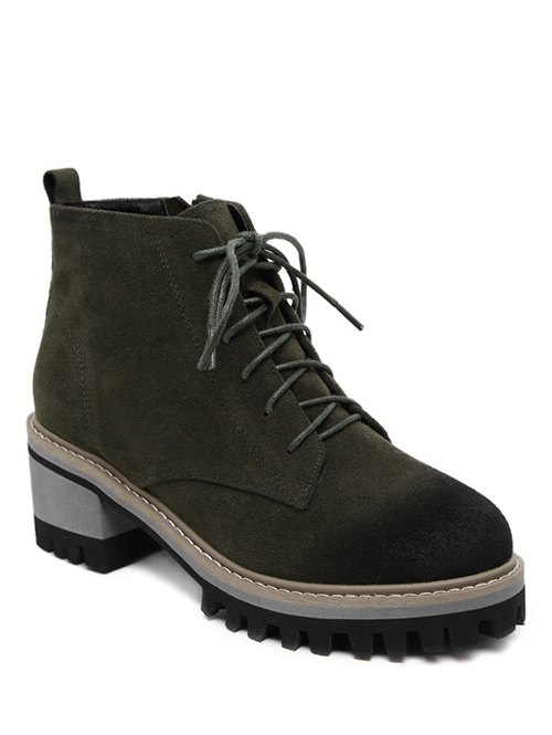 Dark Colour Platform Tie Up Ankle Boots - ARMY GREEN