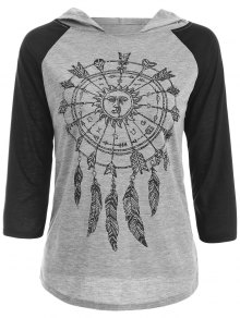 Hooded Printed Raglan Sleeve T-Shirt