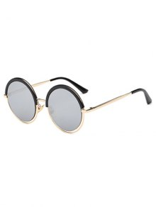 Eyebrow Metal Leg Round Sunglasses - Black