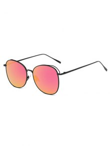 Irregular Square Metal Mirrored Sunglasses - Luminous Bright Red