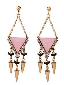 Rhinestone Triangle Rivet Pendant Earrings