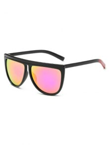 Color Block Leg Oversized Mirrored Sunglasses