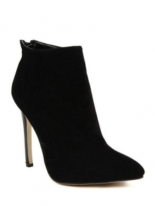 Buy Pointed Tie Flock Zipper Ankle Boots 37 BLACK