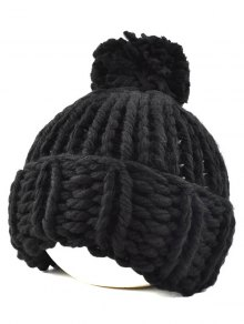 Big Ball Flanging Coarser Knit Hat