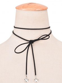 Faux Leather Velvet Bowknot Heart Choker Necklace