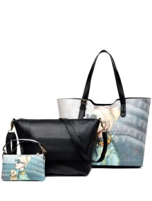 Painted Buckle Strap Shoulder Bag - Black