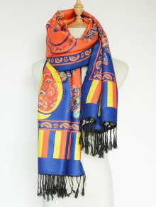 Buy Paisley Leopard Pattern Tassel Shawl Scarf - SWEET ORANGE