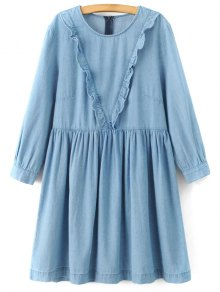 Buy Frilled Line Denim Dress