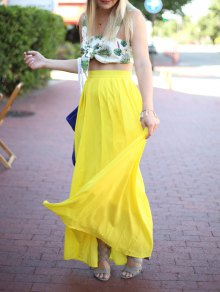 High-Waisted Maxi Skirt - Yellow
