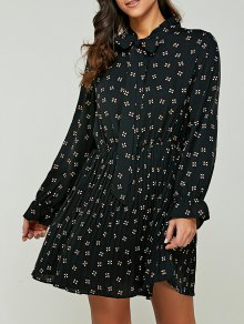 Printed Bow Tie Collar Chiffon Dress