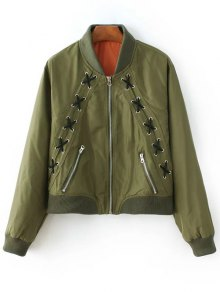 Zipped Lace Up Bomber Jacket