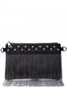 Chains PU Leather Fringe Clutch Bag