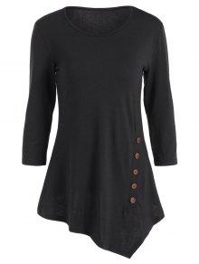 Buttoned Three Quarter Sleeve Blouse - Black M