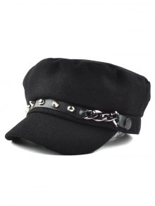 Rivet PU Belt Felt Newsboy Hat