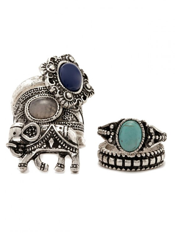 5 PCS Faux Gem Elephant Retro Rings - SILVER  Mobile