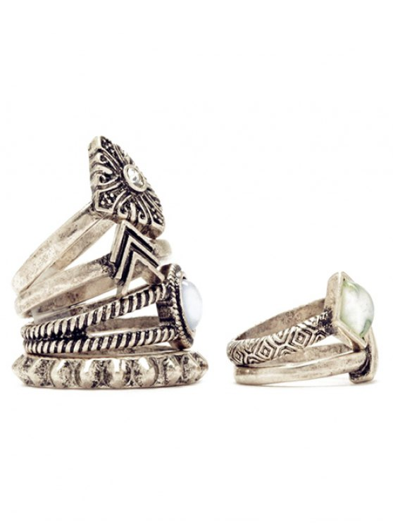 6 PCS Tribal Geometry Retro Rings - SILVER  Mobile