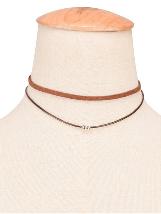 Faux Leather Rope Beaded Layered Choker - BROWN  Mobile