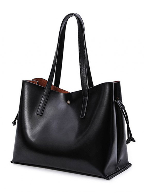 women Drawstring Magnetic Closure PU Leather Shoulder Bag - BLACK