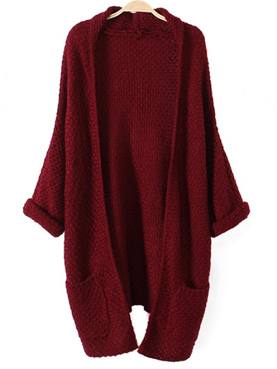 outfit Chunky Cardigan with Pocket - WINE RED ONE SIZE