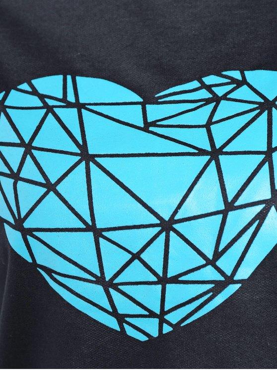 Heart Pattern Sweatshirt - BLACK S Mobile